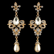 Gold Fleur de Lis Vintage look Crystal and Pearl Wedding Earrings