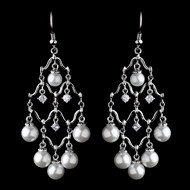 Diamond White Pearl and CZ Chandelier Wedding Earrings