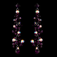 5 Pair Purple Amethyst Austrian Crystal Drop Bridesmaid Earrings