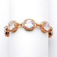 Cushion Cut CZ Rose Gold Wedding Bracelet in Petite Length