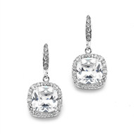 CZ Cushion Cut Wedding and Prom Earrings in Silver