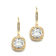 CZ Cushion Cut Wedding and Prom Earrings in Gold
