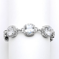 Cushion Cut CZ Silver Wedding Bracelet in Petite Length
