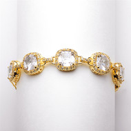 "8"" Size Cushion Cut CZ Gold Wedding Bracelet"
