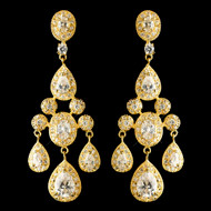 Gold Plated CZ Teardrop Chandelier Wedding Earrings