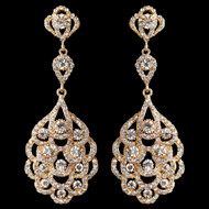 Light Gold Vintage 1920's Inspired Wedding Earrings