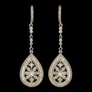 Vintage Inspired CZ Dangle Wedding Earrings