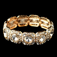 Gold Clear Rhinestone Stretch Wedding Bracelet