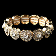 Gold Circles Rhinestone Stretch Wedding Bracelet