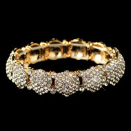 Gold Pave Rhinestone Circles Wedding Bracelet