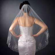 Beautifully Beaded Fingertip Length Wedding Veil with Scalloped Edge