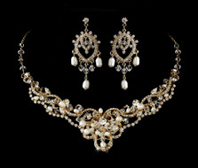 Pearl and Crystal Gold Wedding Necklace and Chandelier Earrings