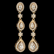 Gold Plated CZ Dangle Wedding Earrings