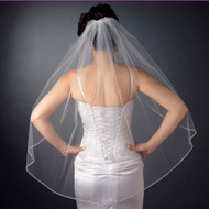 Fingertip Length Wedding Veil with Bugle Beaded Edge