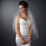 Two Layer Fingertip Length Wedding Veil with Bugle Bead Edge