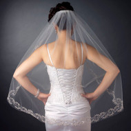 Fingertip Length Wedding Veil with Beaded Embroidered Floral Leaves
