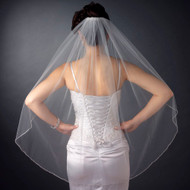 Fingertip Length Wedding Veil with Rhinestone Edge