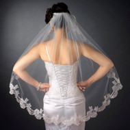 Fingertip Length Wedding Veil with Beaded Embroidery