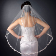 Fingertip Length Wedding Veil with Flower Embroidery Edge