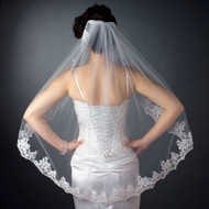 Beaded Floral Embroidery Fingertip Length Wedding Veil
