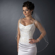 Beaded Edge Fingertip Length Wedding Veil V2525