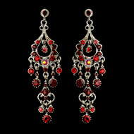 Red Chandelier Formal Earrings in Antique Silver