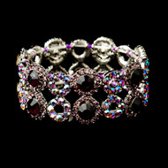 Amethyst and AB Crystal Stretch Bracelet for Wedding or Prom