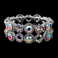 AB and Clear Crystal Stretch Bracelet for Wedding or Prom