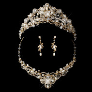 Gold Plated Freshwater Pearl Wedding Tiara and Jewelry Set