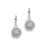 CZ Dangle Art Deco Style Wedding Earrings
