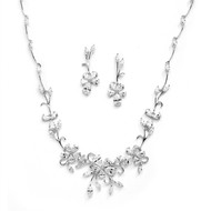 Floral Vine CZ Wedding Jewelry Set