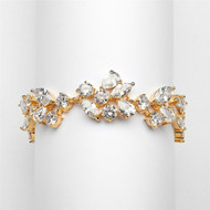 Mosaic CZ Wedding Bracelet in 14K Gold Plate - Petite Size