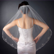 Swirl Embroidery Edge Fingertip Length Wedding Veil with Rhinestones