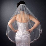 Beaded Embroidery Edge Fingertip Length Wedding Veil