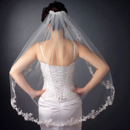 Beaded Floral Embroidery Edge Fingertip Length Wedding Veil