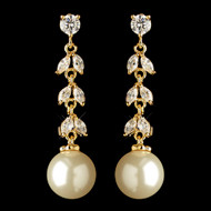 Gold Plated CZ and Freshwater Pearl Wedding Earrings