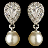 Diamond White Pearl and CZ Teardrop Wedding Earrings