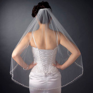 Beaded Edge Fingertip Length Wedding Veil V2499