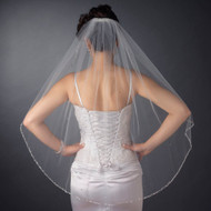 Beaded Fingertip Length Wedding Veil V2513