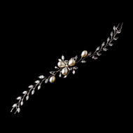 Rhodium Plated CZ and Freshwater Pearl Wedding Bracelet