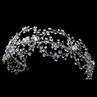 Rhodium Plated Crystal Hand Wired Floral Wedding Headband