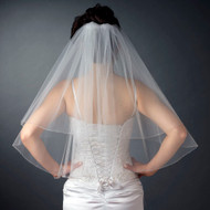 Two Layer Bugle Bead Edge Elbow Length Wedding Veil