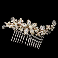 Gold Plated Ivory Pearl Wedding Hair Comb