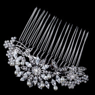 Dainty Pearl and Rhinestone Floral Wedding Hair Comb