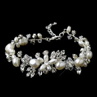 Freshwater Pearl and Crystal Floral Wedding Bracelet