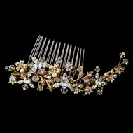 Gold  Plated Crystal Floral Wedding Hair Comb