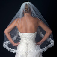 Ivory FIngertip Length Wedding Veil with Scalloped Floral Lace