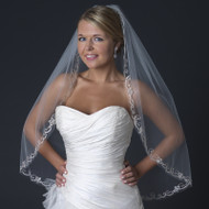 Fingertip Length Wedding Veil with Beaded Swirl Embroidery