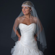 Beaded Knee Length Victorian Style Headband Wedding Veil