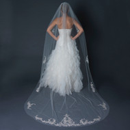 Cathedral Length Wedding Veil with Beaded Floral Silver Embroidery